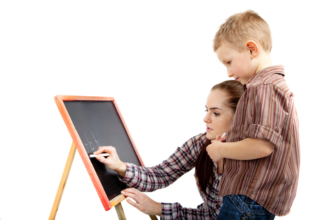 Nanny working with child
