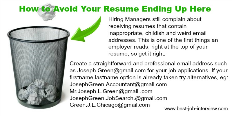 Resume mistakes - your email address