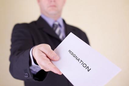 Handing over letter of resignation