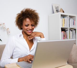 woman researching on laptop
