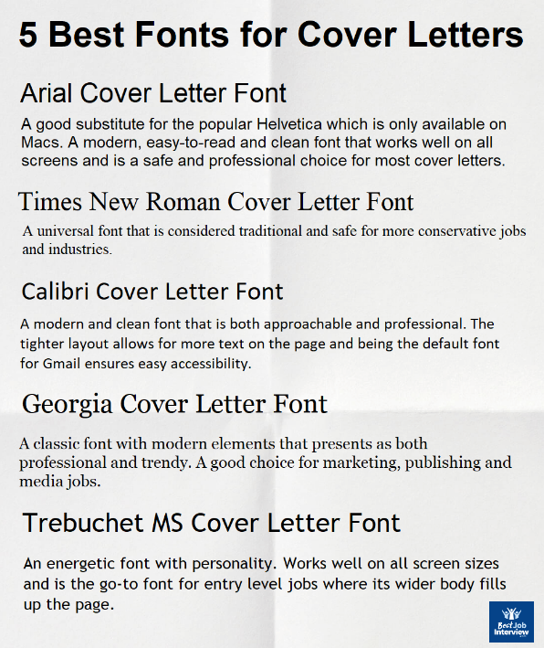 Best Font For Cover Letter Style Size And Format