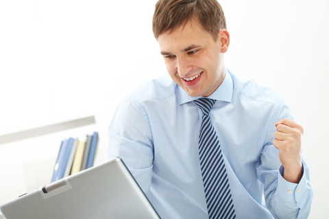 Man happy with work
