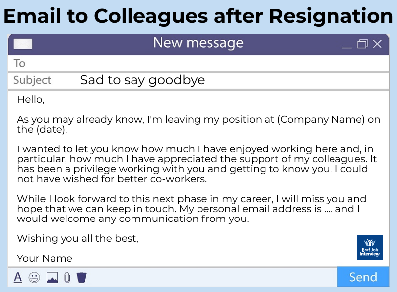 Sample email to colleagues after your resignation