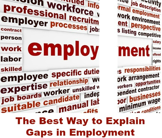 Employment graphic with words related to employment and a gap in the middle with text