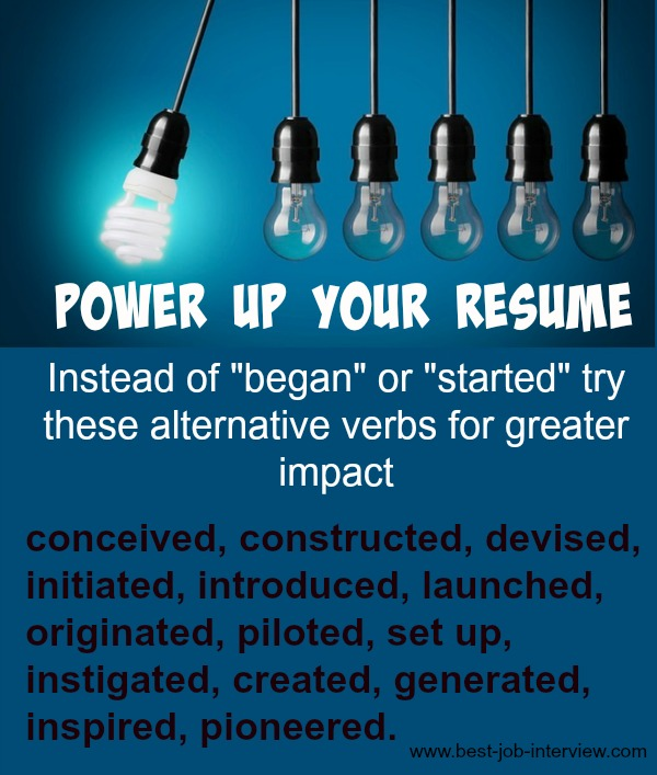 Using ...  Strong Verbs For Resumes