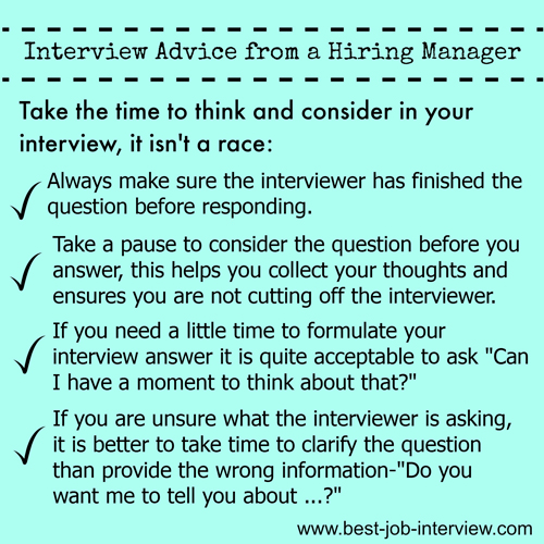 Interview Advice - Don't Rush