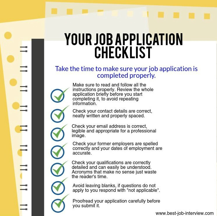 Job Application Checklist  Job Interview Tips