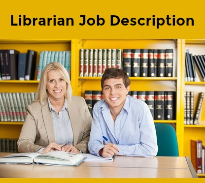Librarian and student sitting at a desk in a library with books behind them