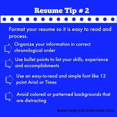 Tip for creating resume