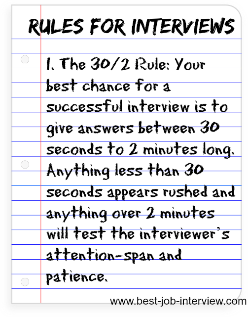 Marvelous Interview Rules On Common Interview Questions