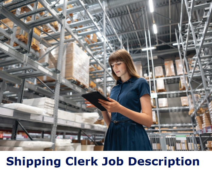 Female shipping clerk checking documents in warehouse