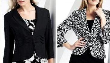 patterned jacket can be successfully worn over a plain colored dress
