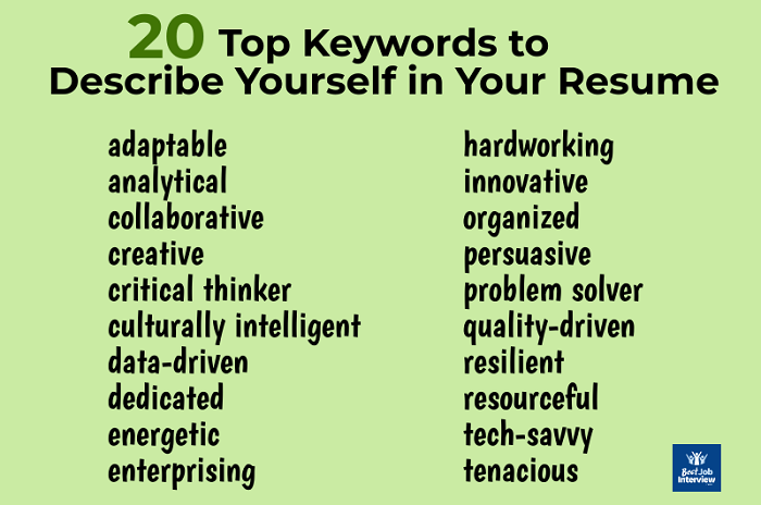20 top keywords to describe yourself in your resume
