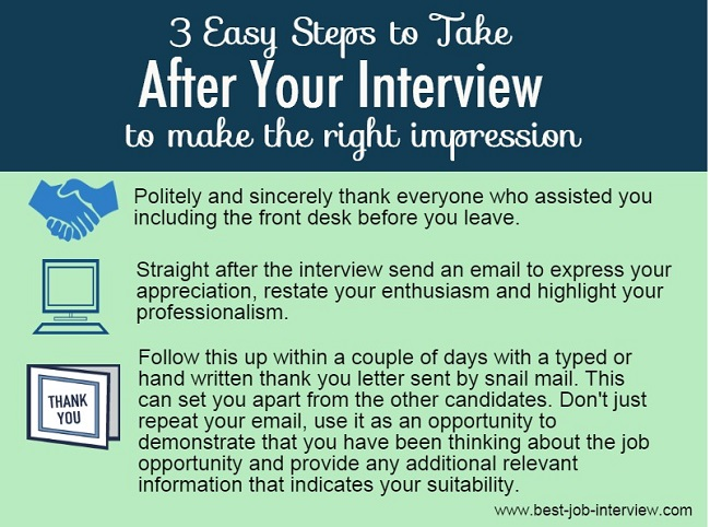 What to do straight after a job interview