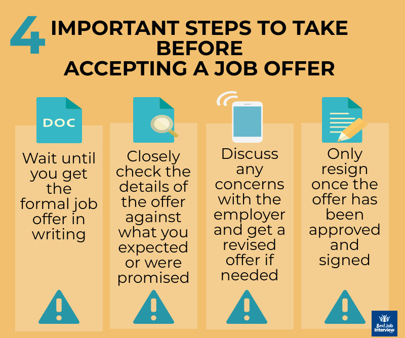 4 Steps to Take Before Accepting a Job Offer infographic