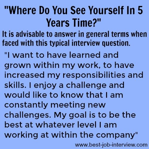 Where do you see yourself in 5 years time - sample interview answer text