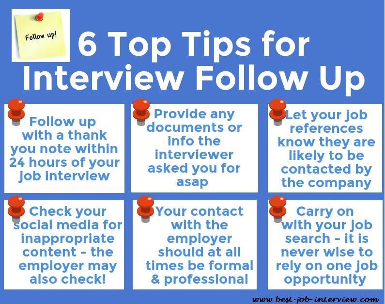 6 Top Tips for Interview Follow Up