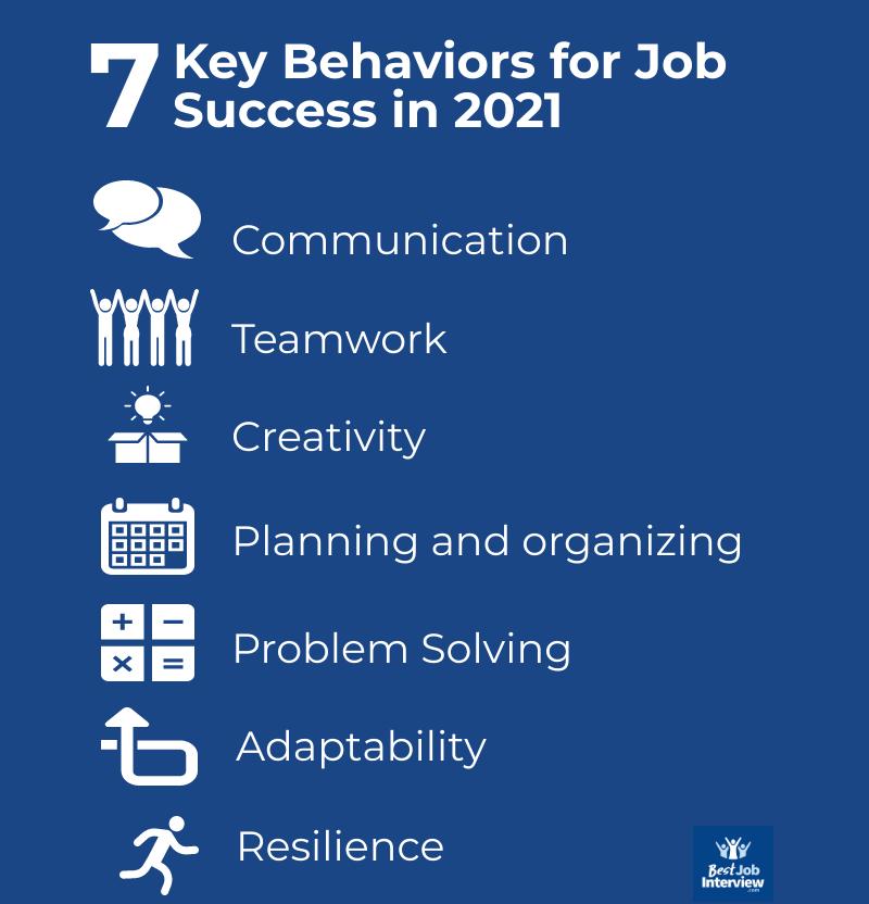 7 key behaviors for job success in 2021 text