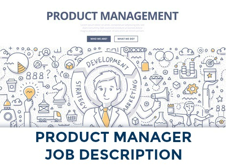 Product management concept graphic with icons relating to product management