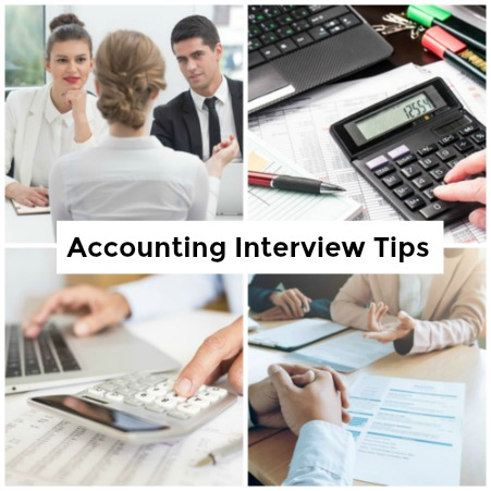 Collage of 4 images relating to office accounting work and job interviews