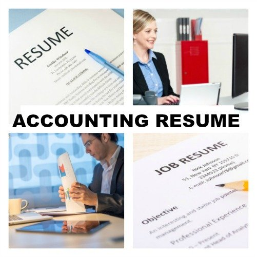 Collage of 4 images of resumes and accountants at work with text