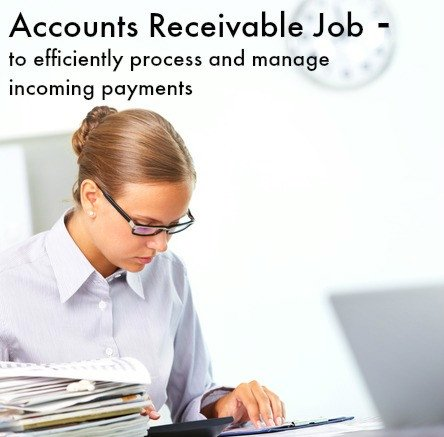 Accounts receivable clerk at work with words