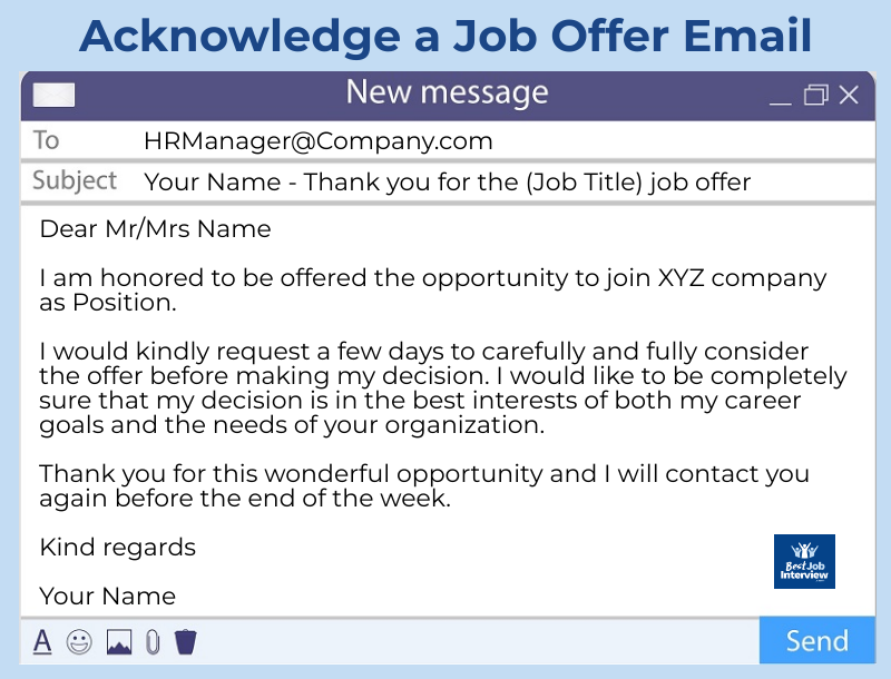 How to acknowledge a job offer sample email