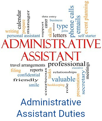 Illustration of words associated with administrative assistant jobs