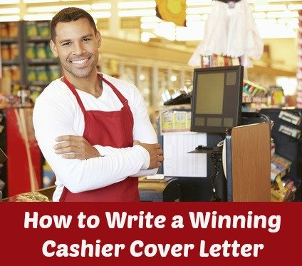 Male cashier standing at cash point with writing