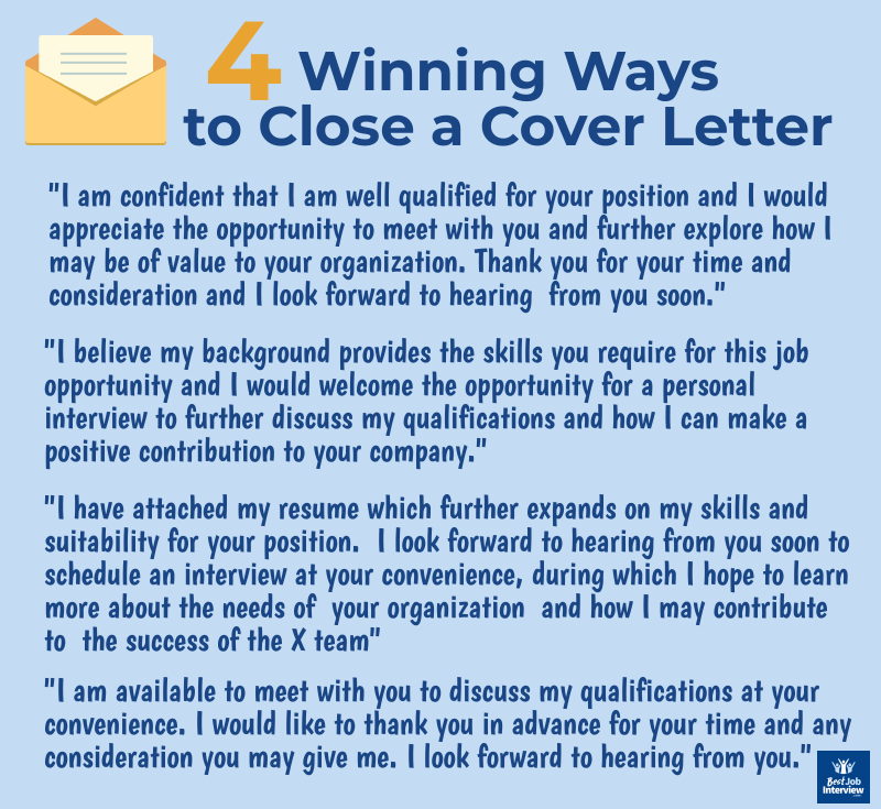 4 Winning Ways to Close a Cover Letter graphic with text