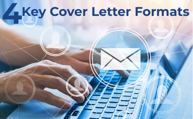 Hands on keyboard with email icons and words 4 Key Cover Letter Formats