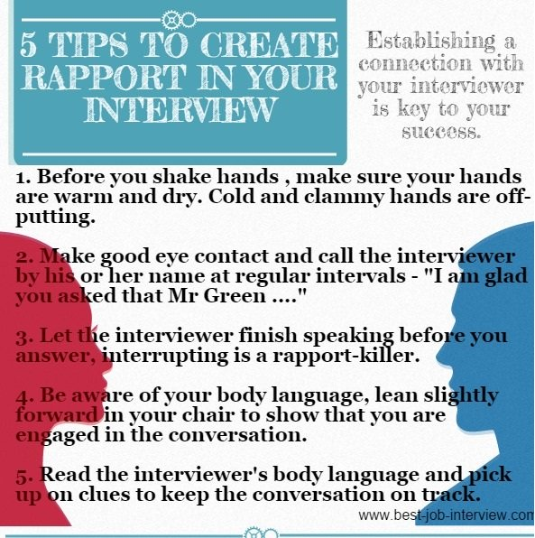 5 tips to create rapport in your interview infographic