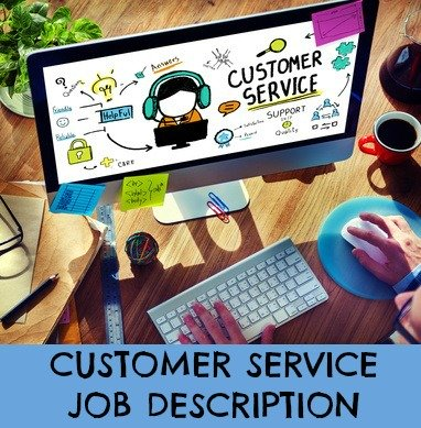 Laptop with customer service heading on screen and icons relating to customer service