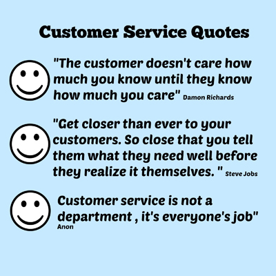 3 quotes about customer service, text on blue background