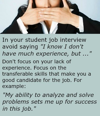 How to handle your inexperience in a student job interview- example answer