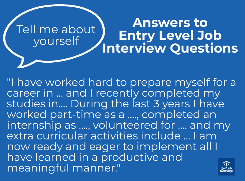 Sample answer to entry level job interview questions - Tell me about yourself - in text