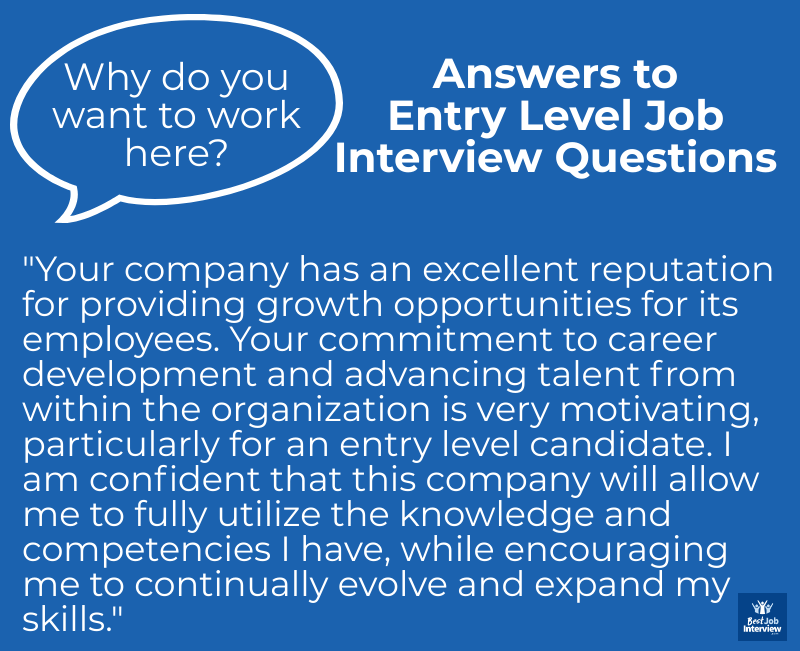 Sample Answer to Entry Level Job Interview Questions - Why this Company? - in text