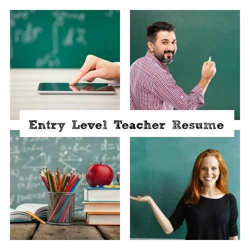 Collage of 4 teaching-related images and words