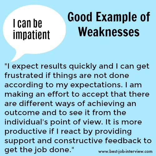Impatience sample weaknesses interview answer text