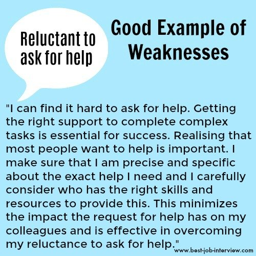 Reluctant to ask for help sample weaknesses interview answer text