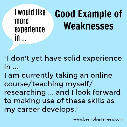 Lack of experience in certain areas sample weaknesses interview answer text