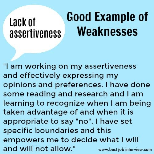 Lack of assertiveness sample weaknesses interview answer text