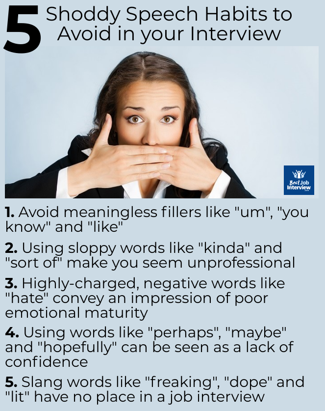 Girl with hands over mouth and list of 5 shoddy speech habits to avoid in your interview