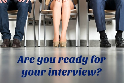 3 job candidates waiting for interview in reception with words