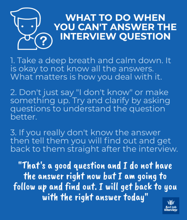Infographic - What to say and do when you can't answer the question in an interview.