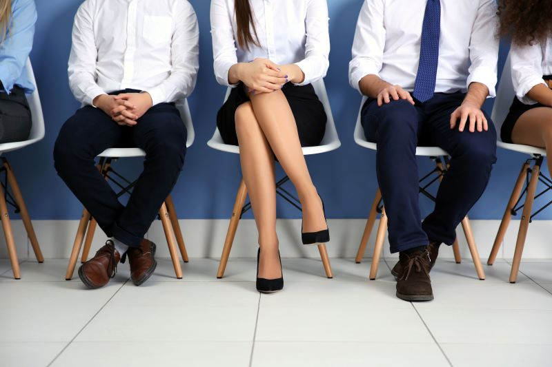 5 Candidates Sitting and Waiting for a Job Interview