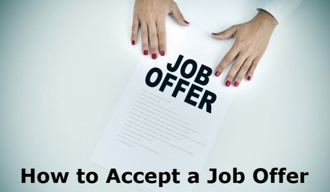 Woman presenting a job offer document with text