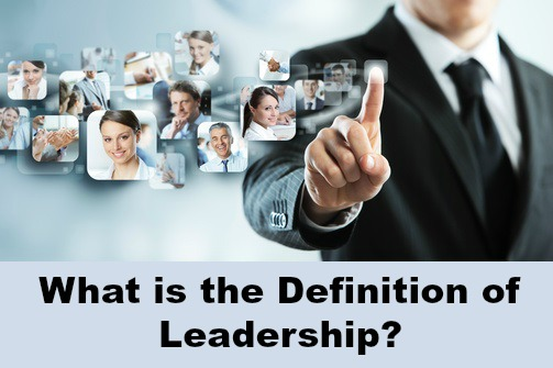 Leadership concept on screen, businessman and employees with writing