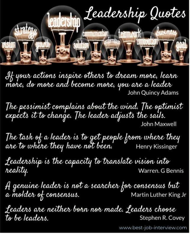 List of leadership quotes, white writing on black background