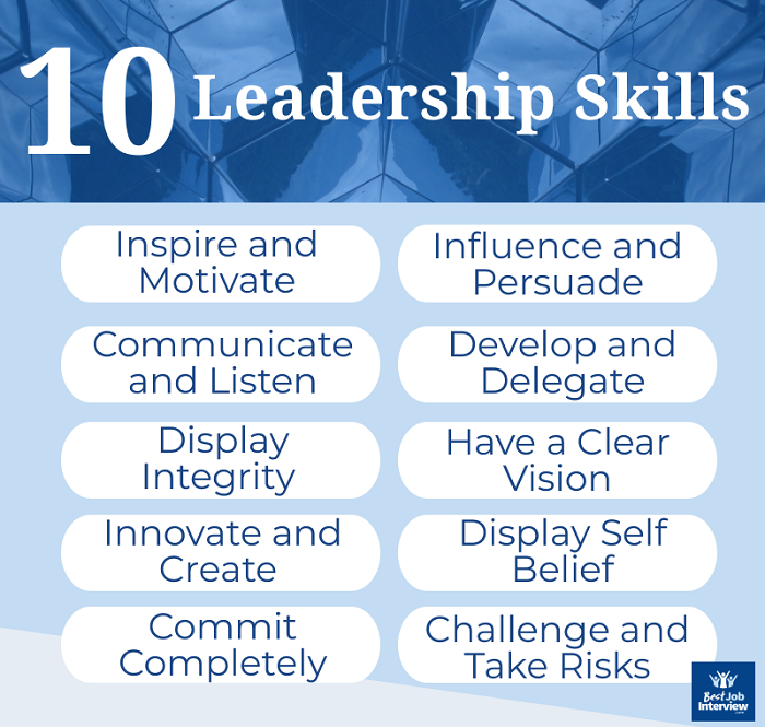 List of the top 10 leadership skills in graphic format